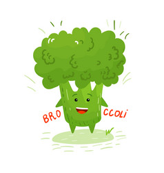 happy smilling cute broccoli vector image