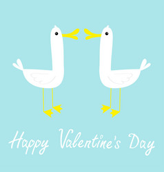 happy valentines day two goose love couple farm vector image