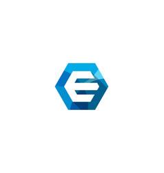 hexagon letter e logo icon design vector image