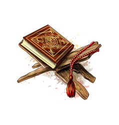 Holy book of koran with rosary from splash vector