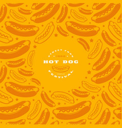 hot dog label and frame with pattern vector image
