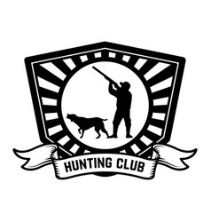 hunting club emblem template hunter with hunting vector image