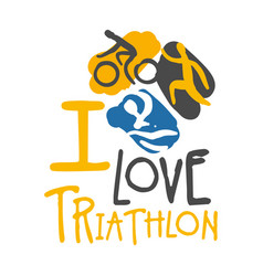 I love triathlon logo colorful hand drawn vector