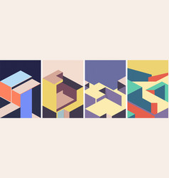 isometric architectural cover design geometric vector image