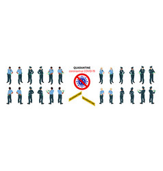 isometric police officers in medical masks vector image