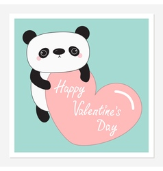 Kawaii panda baby bear Happy Valentines Day vector