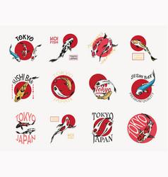 Koi carp and red sun japanese fish badges set vector