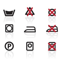 laundry care symbols and signs icons vector image