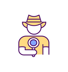 Man in a cowboy hat holds a magnifying glass his vector