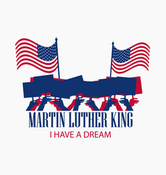 Martin luther king day hand holds flag vector