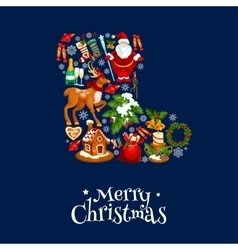 Merry Christmas greeting poster card vector
