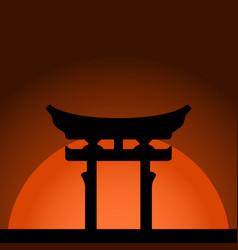 Miyajima torii gate with sunset background vector