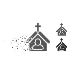 moving pixel halftone church person icon vector image
