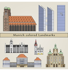 Munich colored Landmarks vector image