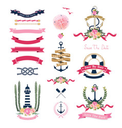 Nautical wedding theme with floral and anchor vector