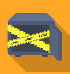 Opened safe with a protective tape creme metal vector