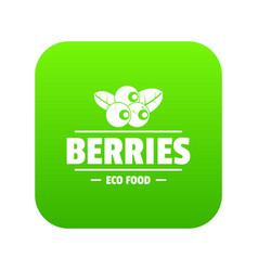 organic berries icon green vector image