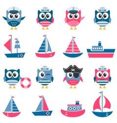 Owls sailors and boats set vector