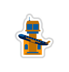 paper sticker on white background plane takeoff vector image