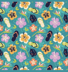 Pattern in hawaiian style from flowers and element vector