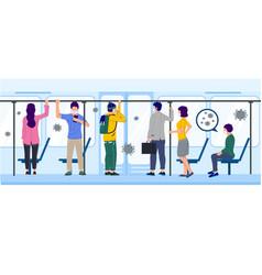 people in subway train during coronavirus pandemic vector image