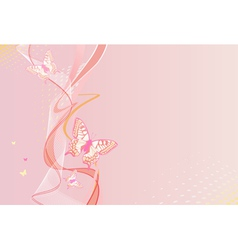 Pink vertical background with butterfly vector