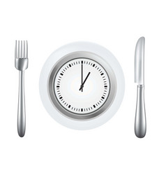 plate with knife and fork and clock vector image
