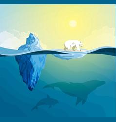 Polar bear on pole global warming concept vector