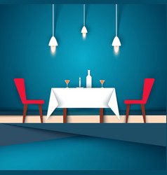 restaurant - paper wineglass chair vector image