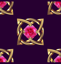 Seamless pattern gold and pink jewel vector