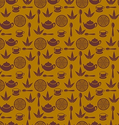 Seamless pattern with tea pots and tea cups vector image