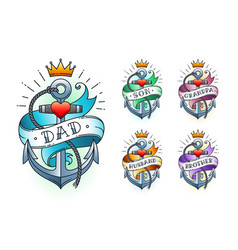 set classic tattoo vector image