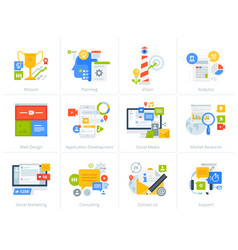 Set flat design style concept icons on white vector
