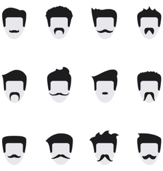 Set icons face with mustaches vector