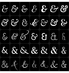 Set of ampersands for letters and invitation on vector