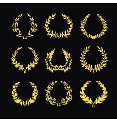 Set of gold wreaths vector image