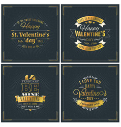 set of happy valentines day vintage retro golden vector image