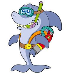 Shark scuba diver vector