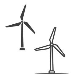 Simple wind turbine icons vector