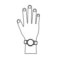 smartwatch on wrist black and white vector image