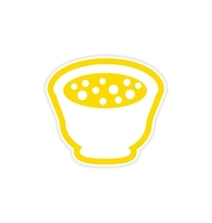 Sticker miso soup plate on a white background vector