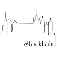 stockholm city one line drawing background vector image