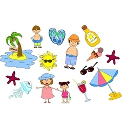 Summer Beach Icon Set vector image