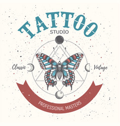 Tattoo school posterbanner with magical butterfly vector