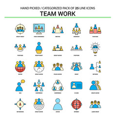 team work flat line icon set - business concept vector image
