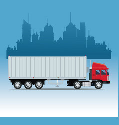 Truck cargo container urban background vector