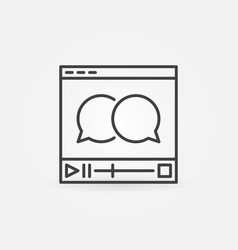 video player with speech bubbles icon vector image