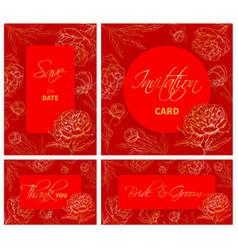 wedding templates set with hand drawn peony vector image