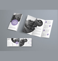 white three-fold brochure design with purple vector image