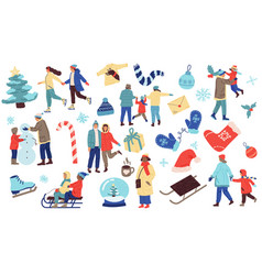 winter set people in cozy clothes with christmas vector image